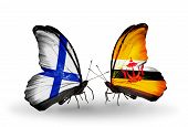 Two Butterflies With Flags On Wings As Symbol Of Relations Finland And  Brunei