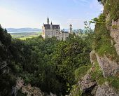 Vertical panoramic view of the Neuschwanstein Castle in Bavaria
