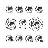 Global Communications Icon Set With Globe Earth On White Background