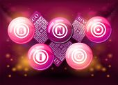 Bingo balls on pink shiny background