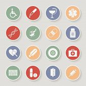 Round Medical Icons. Vector illustration