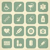 Retro Medical Icons. Vector illustration