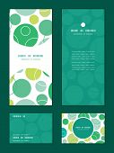 Vector abstract green circles vertical frame pattern invitation greeting, RSVP and thank you cards