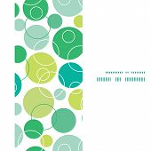Vector abstract green circles vertical frame seamless pattern background