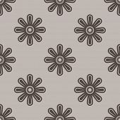 Abstract seamless beige and brown flower wallpaper vector pattern.