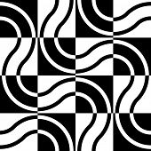 Seamless Wave and Square Pattern. Black and White Regular Texture
