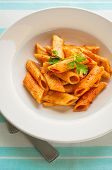 Penne pasta in tomato sauce - top view