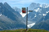 Signs On Trail Nearby Chamonix In Alps In France
