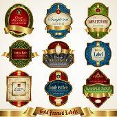 Gold framed labels set 4