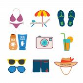 Set Of Vector Colorful Beach Vacations Icons In Flat Style