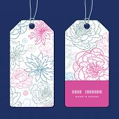 Vector gray and pink lineart florals vertical tags set