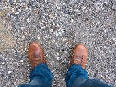 Shoes, Jeans And Gravel