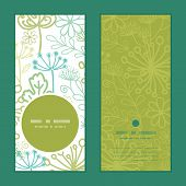 Vector mysterious green garden vertical round frame pattern invitation greeting cards set