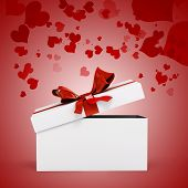 3d white present box and big red bow