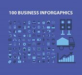 100 business infographics icons, signs, illustrations set, vector