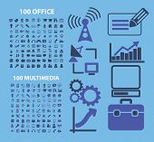 200 office, media, presentation, interface, application, document, settings, marketing, sales icons, signs, illustrations set, vector