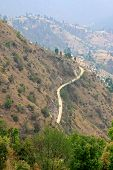 Road and villages on mountains in Dhulikhel, Nepal