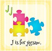 Illustration of a letter J is for jigsaw