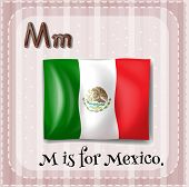 Illustration of a letter M is for Mexico