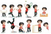Illustration of a black hair boy in different position