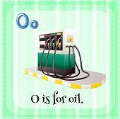 Illustration of a letter O is for oil