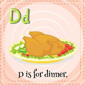 Illustration of a letter D is for dinner