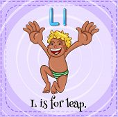 Illustration of a letter L is for leap