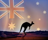 stock photo of kangaroo  - Illustration of an australian flag and a kangaroo - JPG