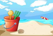 Illustration of a bucket of toys on the beach