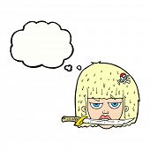 cartoon woman holding knife between teeth with thought bubble