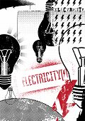 Electricity. Retro grunge poster. Vector illustration.