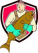 Fishmonger Holding Fish Shield Cartoon