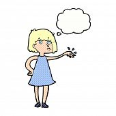cartoon woman showing off engagement ring with thought bubble