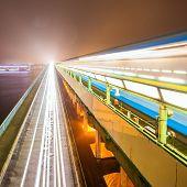 Metro bridge in Kiev in the fog at night