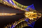 Footbridge in Kiev at night. abstract shot
