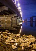 Havana bridge in Kiev at night. Ukraine.