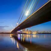 South bridge in Kiev at night. Ukraine.