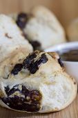 Date Scones with Jam - Vertical