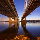 Railway bridge at night in Kiev city. Ukraine.