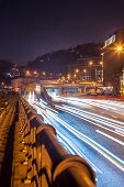 the light trails in Kiev at night