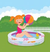 Little Girl Splashing In An Inflatable Pool In His Backyard