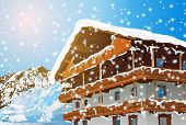Alps traditional house. Winter season. EPS 10 format.
