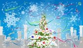 Winter city with new year tree. EPS 10 format.