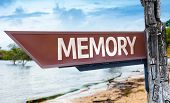Memory wooden sign with a lake background