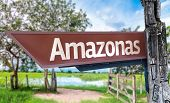 Amazonas wooden sign with rural background