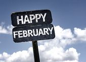 Happy February sign with clouds and sky background