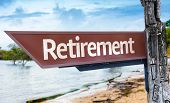 Retirement wooden sign with a lake background