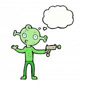 cartoon alien with ray gun with thought bubble
