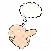 cartoon balding man with thought bubble