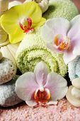 Spa treatments with orchid flowers  and towels, close-up
